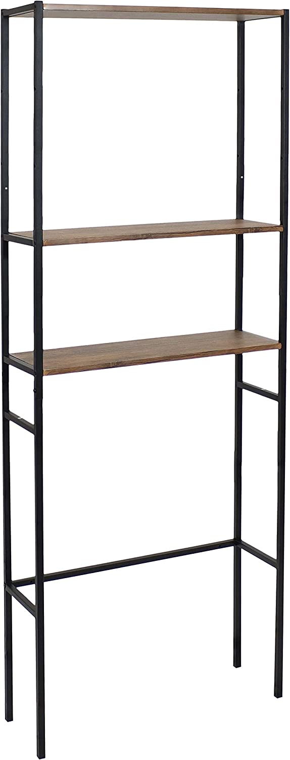 Sunnydaze 3-Tier Over the Toilet Storage Shelf - Industrial Style with Freestanding Open Shelves with Veneer Finish and Black Iron Frame - Etagere Bathroom Space-Saver Organizer - Teak Color - 71-Inch