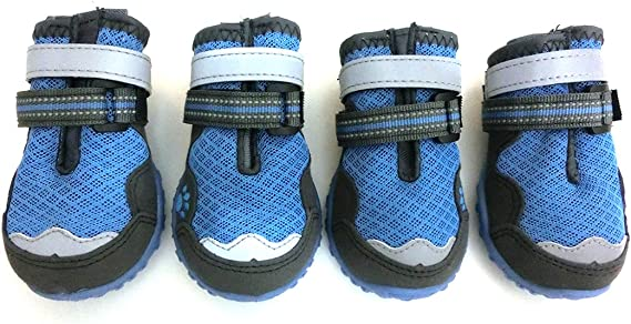 Xanday Dog Boots Waterproof Dog Shoes Paw Protectors with Reflective Straps and Wear-Resisting Soles 4Pcs