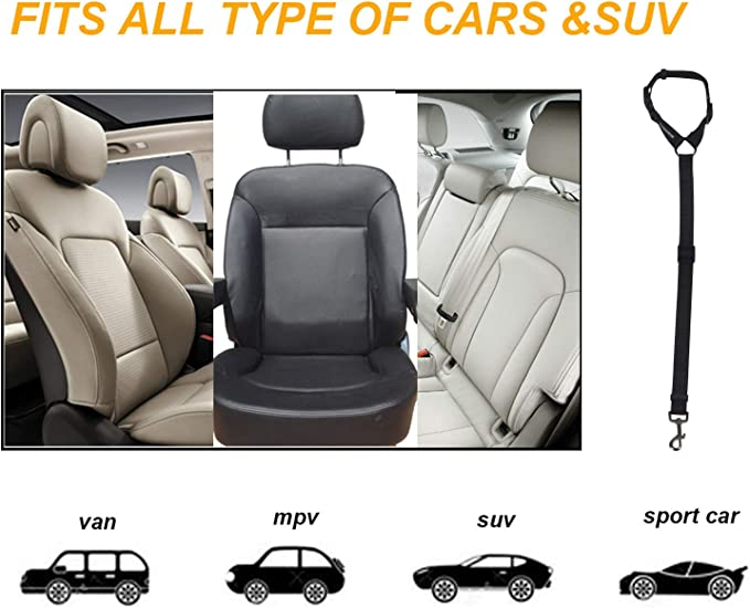 Noir 【MOLO】Animaux Car Seat Belt 2 Paquet r/églable Ceinture de s/écurit/é Pet voiture Seat chien de haute qualit/é Ceinture