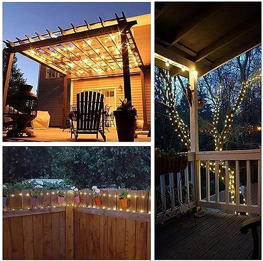 Qedertek Luces de Navidad, Guirnalda Luces Exterior Solar, Luces de Alambre de Cobre 22M 200 LED, Luces Solares Cadena Impermeable, Luces Navidad Blanco Calido para Exterior, árbol de Navidad: Amazon.es: Iluminación