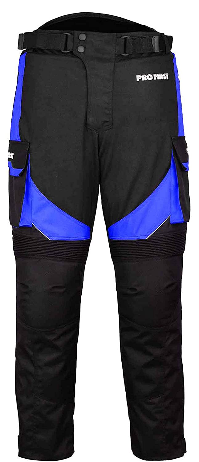 TR-001 | CE Approved Armoured Motorbike Motorcycle Trouser Pant Waterproof - Removable Lining - Big Pocket Design - Long Length Inside Leg 32 Inch (Blue - XS to 4XL)