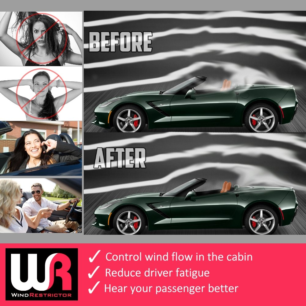 Control air flow Easy Install wind noise Clear cut down backdraft WindRestrictor Convertible Wind Deflector Compatible with 2014-2018 Chevrolet C7 Corvette Stingray Secure Mounting Patented