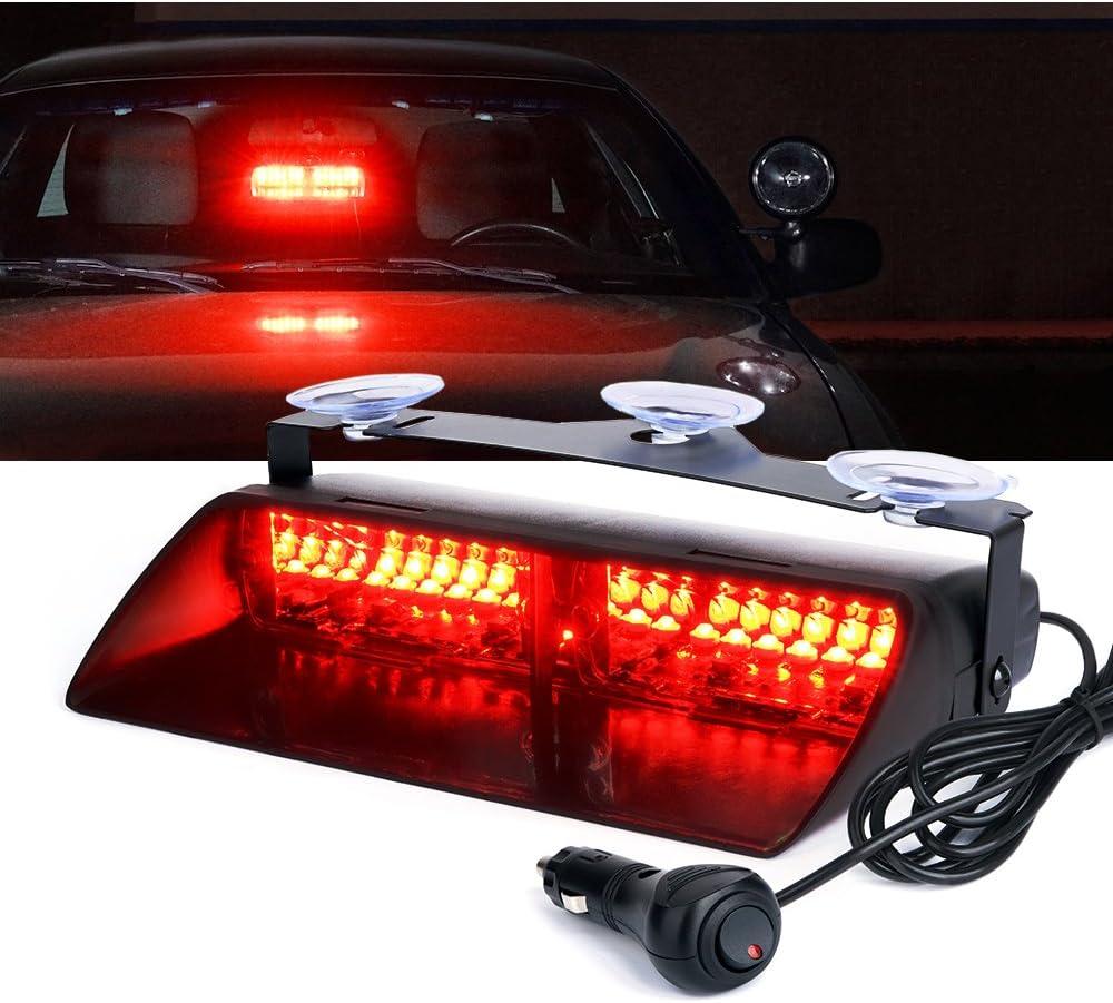 Red 86 LED Sun Shield Emergency Hazard Visor Windshield Strobe Car Warning Light