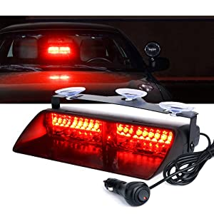 High Intensity LED Windshield Emergency Hazard Warning Strobe Lights - Red