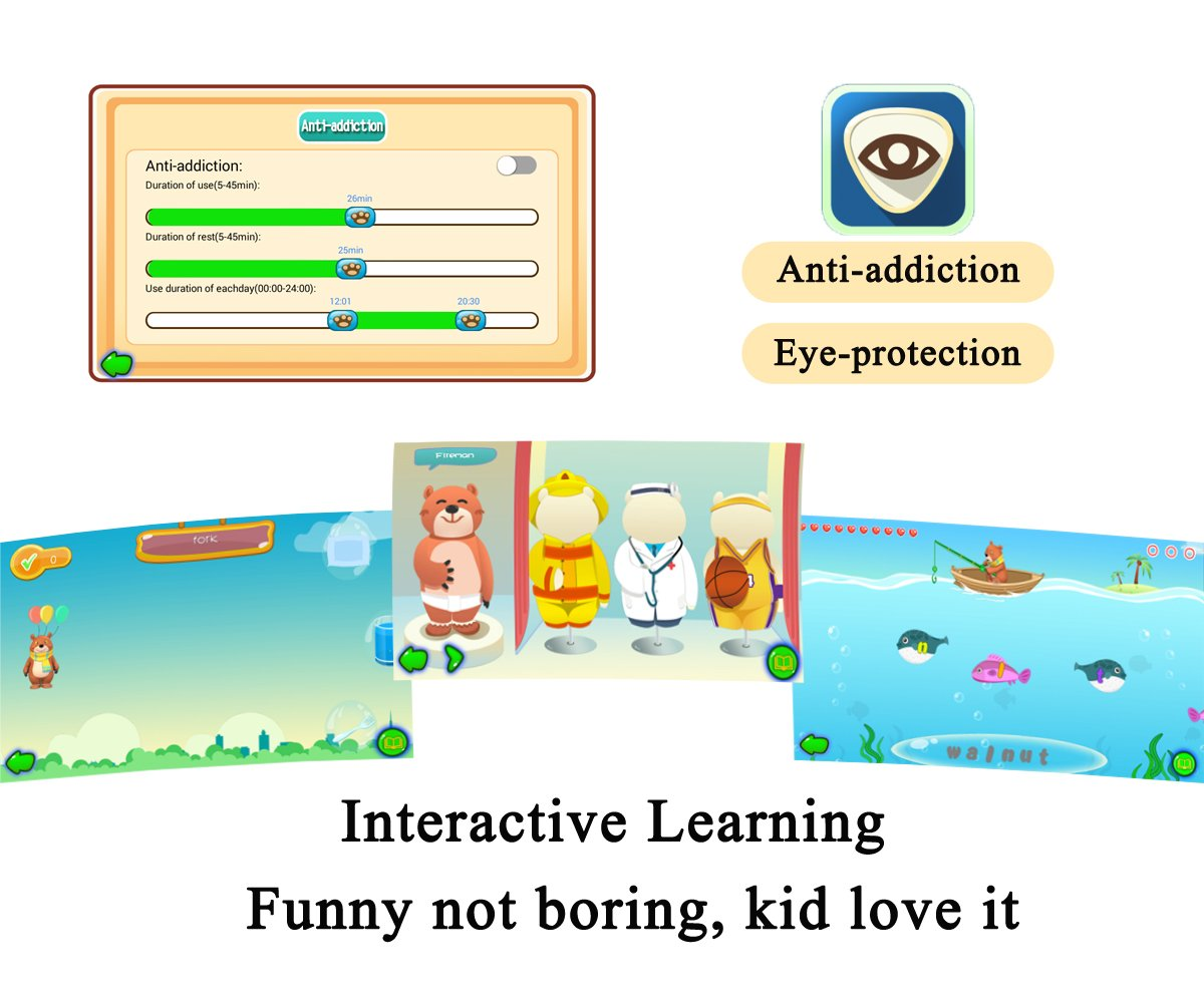 Kids Tablet, B.B.PAW 7'' Whole Brain Education Tablet para niños 2 to 6 Years Old with 90+ Preloaded Learning and Training Apps-Candy Pink by B.B.PAW  (Image #5)