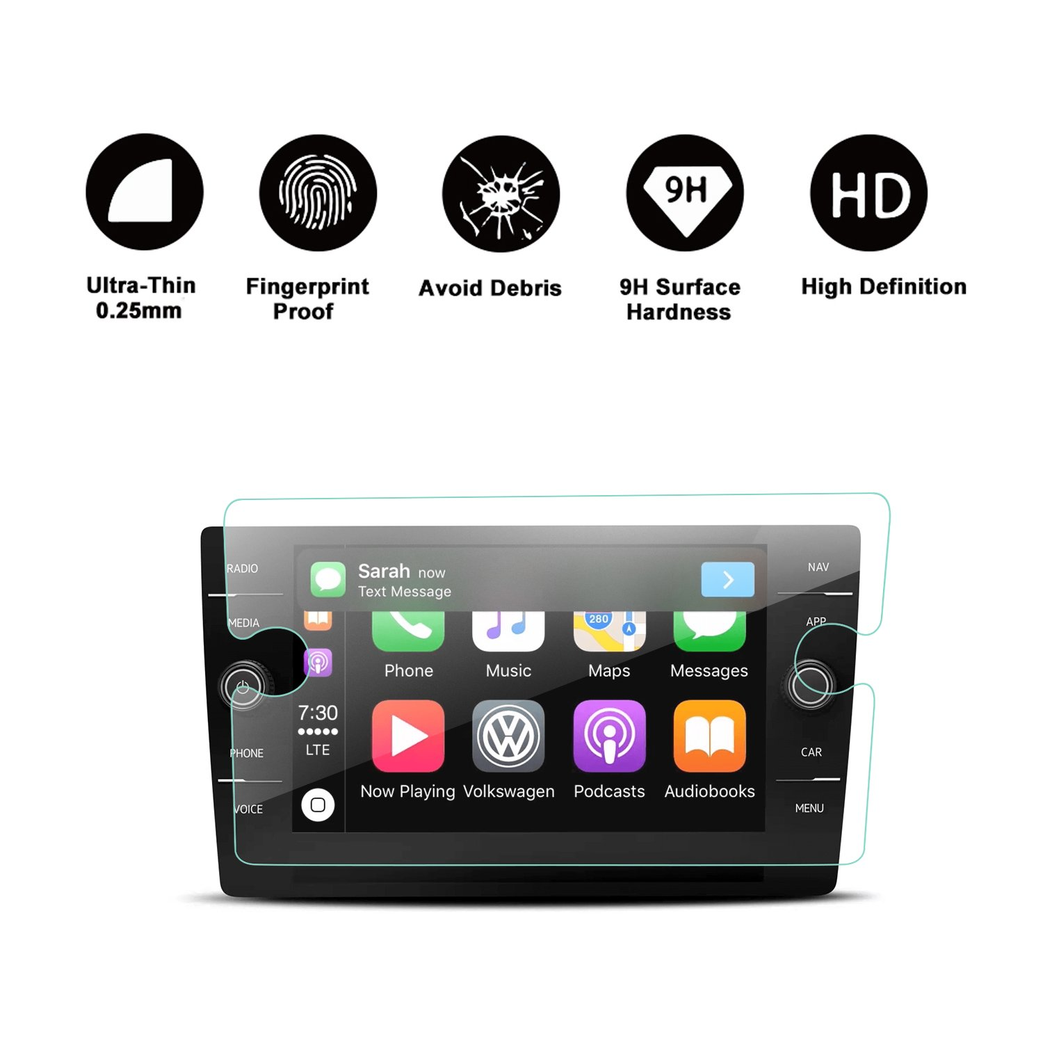 2018 Volkswagen Tiguan VW Touch Screen Car Display Navigation Screen Protector, R RUIYA HD Clear TEMPERED GLASS Car In-Dash Screen Protective Film (8-Inch)