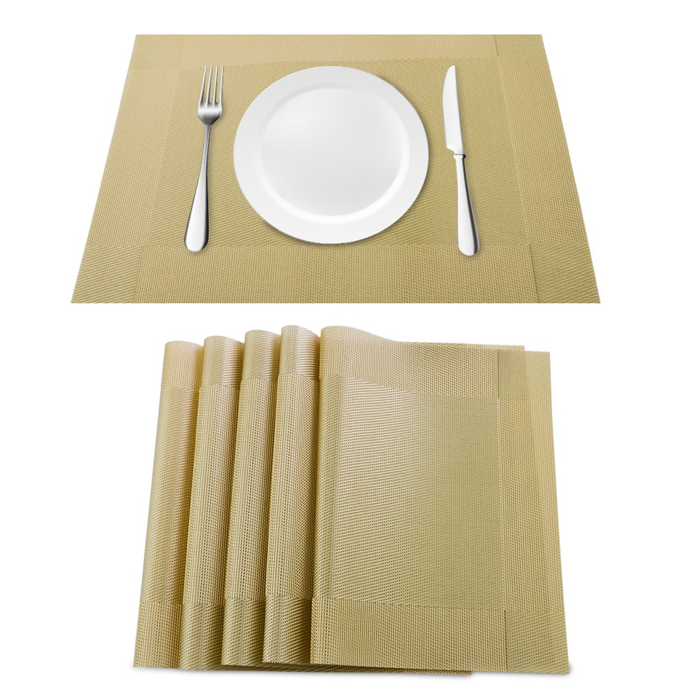 Orangehome Set of 6 Placemats,Placemats for Dining Table,Heat-resistant Placemats, Stain Resistant Washable PVC Table Mats,Kitchen Table mats(Gold) by Orangehome (Image #1)
