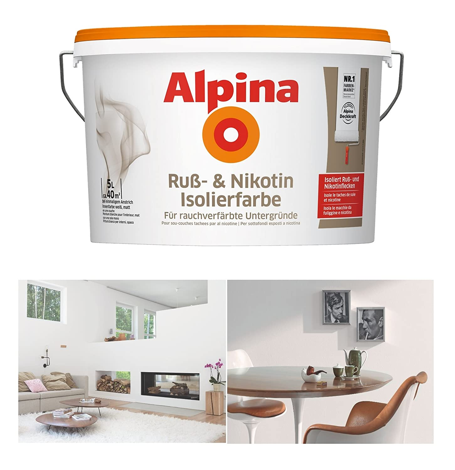 Alpina Russ Nikotin Isolierfarbe 5 Liter Weiss Matt Russflecken
