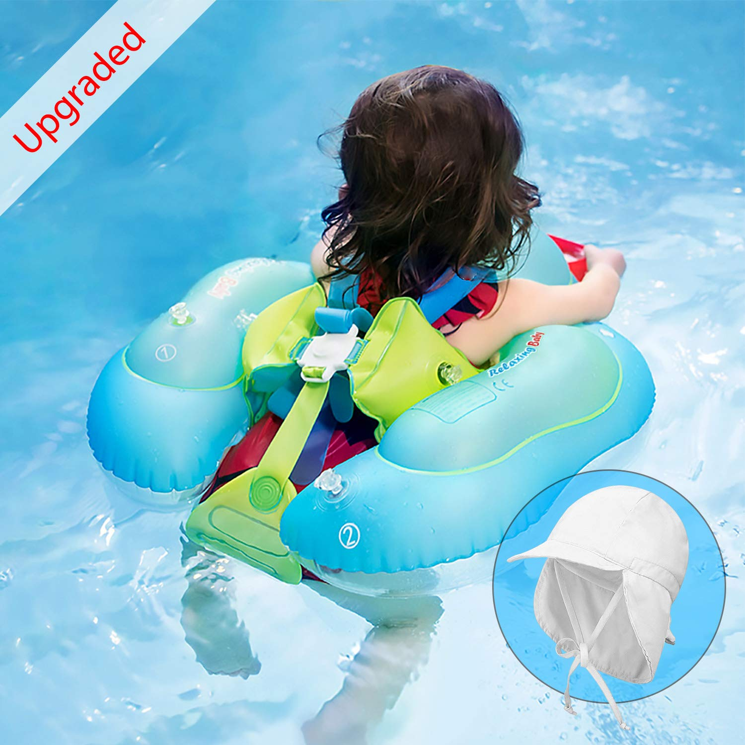 CHGeek [Upgraded] Baby Pool Float, Baby Swimming Float Safety Inflatable Floats Ring with Safety Belt Crotch Strap Suitable for 8-36 Months,Size L by CHGeek