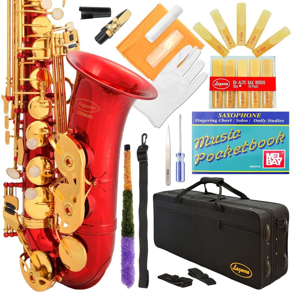 Saxofón alto Rojo y llaves doradas Lazarro con funda (xmp)