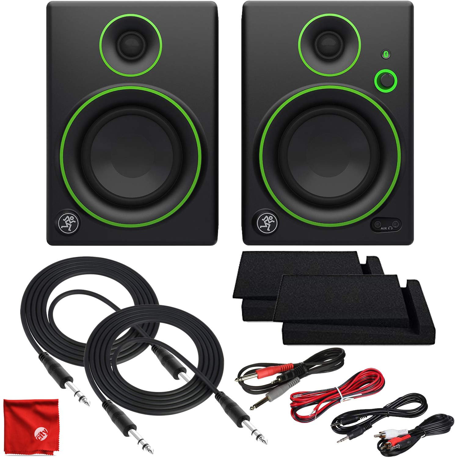 Mackie CR4BT 4'' Creative Reference Multimedia Studio Monitors with Bluetooth Ultimate Cable Bundle Including Balanced Stereo TRS with Dual 1/4'' to 1/8'', RCA and 3.5mm MP3 Cables