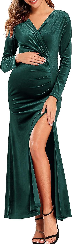 Womens Long Sleeve Maxi Dress Velvet Slim Deep V neck Costume Cocktail Skirt 45