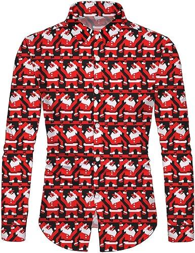 Camisa de Hombre de Navidad Camisa de Manga Larga impresión muñeco de Nieve Lindo muñeco de Nieve Camiseta Manga Larga Moda Fiesta de Navidad Camisetas Casual Navidad cárdigan Rojo M: Amazon.es: Ropa