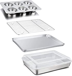 TeamFar Bakeware Set of 5, Medium Stainless Steel Toaster Oven Pan with Rack, Lasagna Pan with Lid, Loaf Pan, Non-Toxic & Heavy Duty, Smooth & Multi-Use, Dishwasher Safe