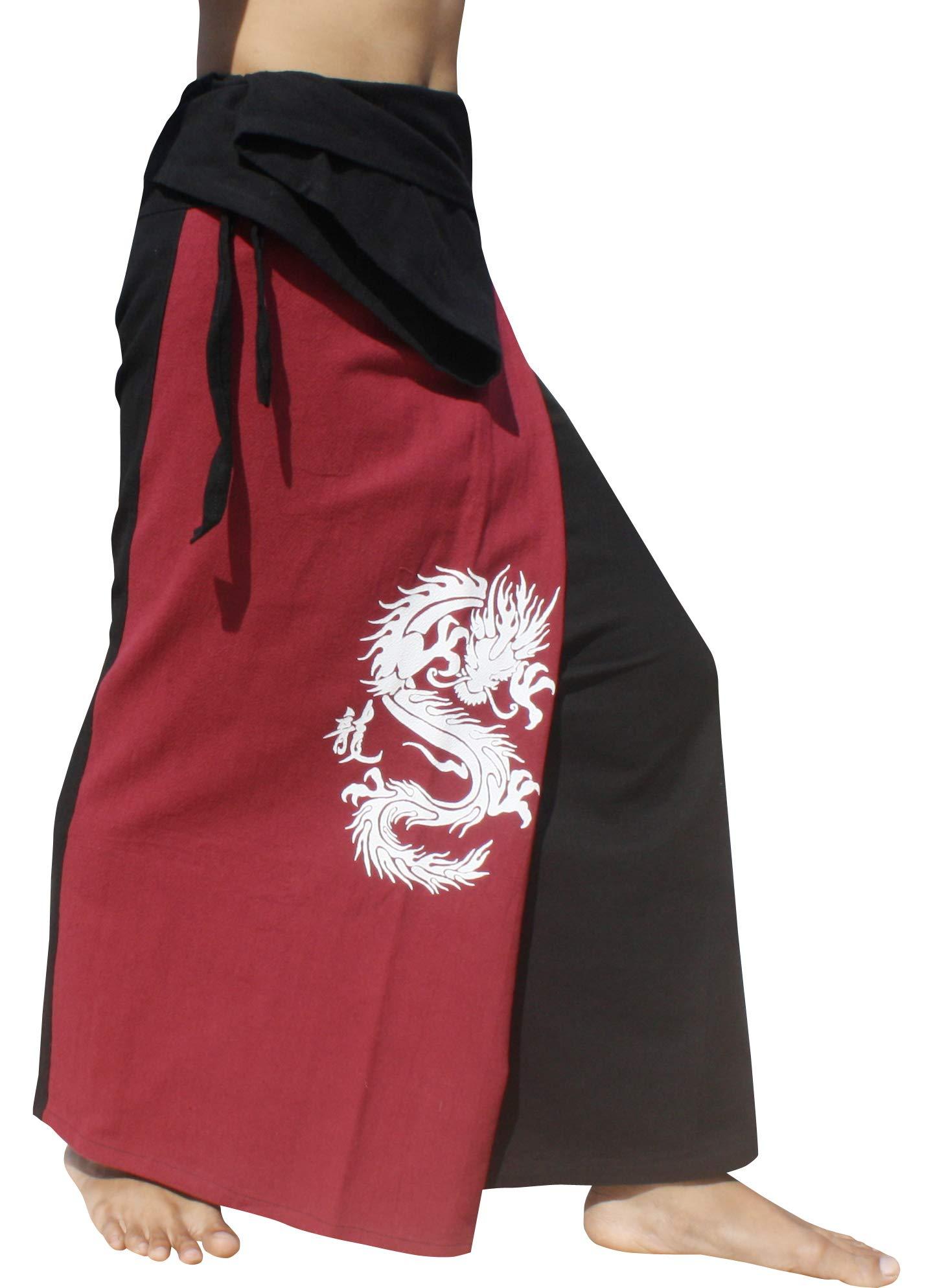 Raan Pah Muang Thick Cotton Two Color Fire Dragon Samurai Wrap Pants, X-Large, Dark Red & Black by Raan Pah Muang