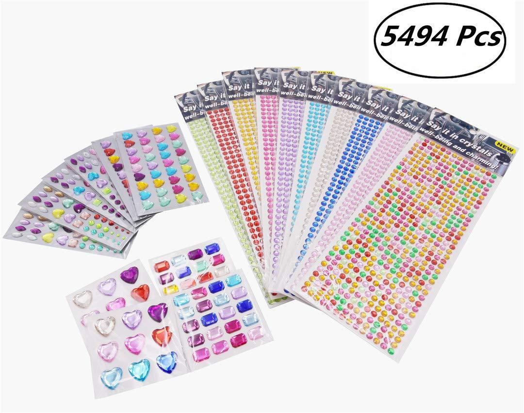 Belsun 5494 Pcs Self Adhesive Rhinestone Sticker, Flatback Diamond Gem Stickers Crystal Craft Jewelry - 20 Sheets (Assorted Sizes,Colorful)