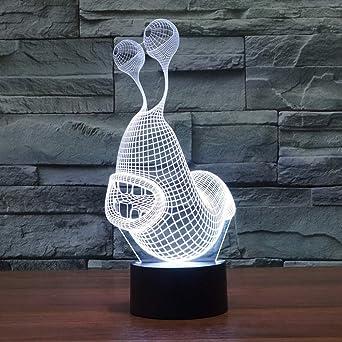 MFBis Caracoles 3d luz nocturna usb carga táctil mesa escritorio ...