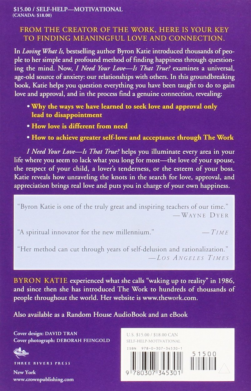 I Need Your Love Is That True How to Stop Seeking Love – Byron Katie the Work Worksheet