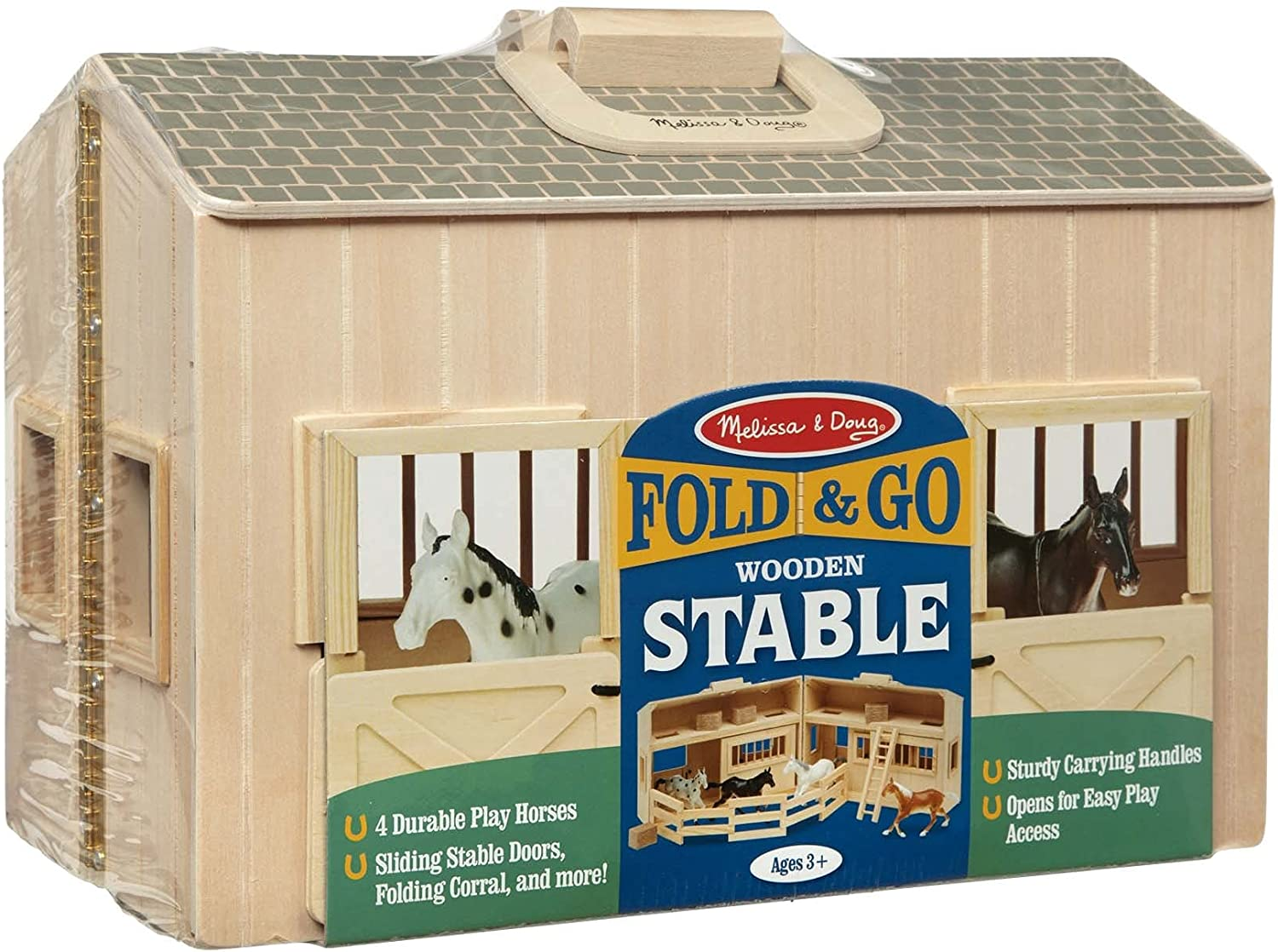 Melissa & Doug Fold and Go Wooden Horse Stable Dollhouse With Handle and Toy Horses (11 pcs)