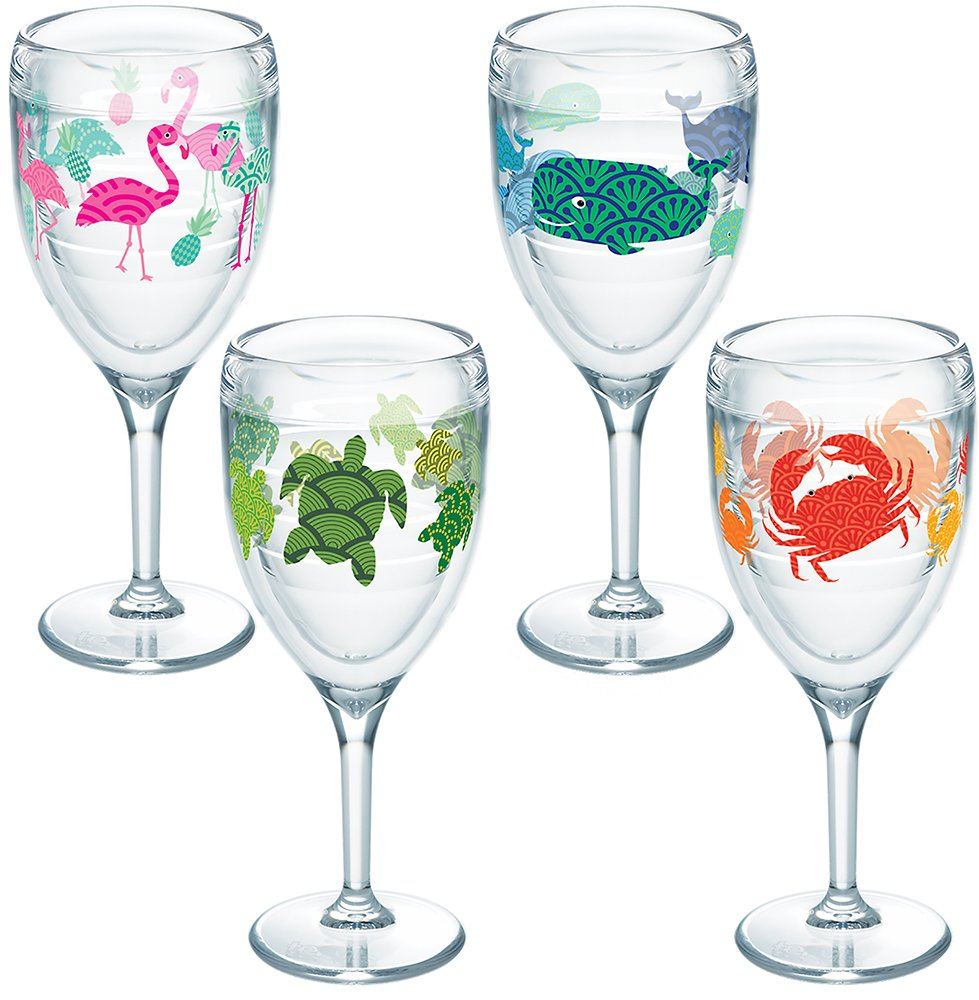 Tervis 1254512 Flamingo, Whale, Turtle, Crab Pattern Tumbler with Wrap 4 Pack 9oz Wine Glass, Clear