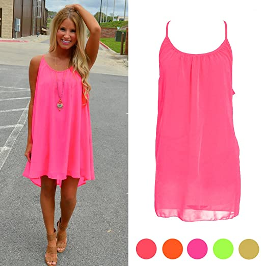 6d646e355340 SCASTOE Womens Hot Pink Summer Sundress Beach Chiffon Casual Sleeveless  Dress (S)