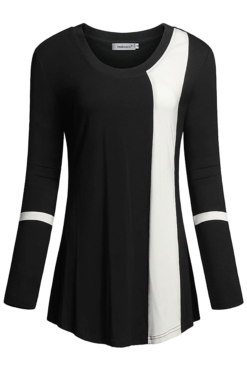 271fb3c5d0bc8 Features Round Neck Scoop Neck Long Sleeve Color Block Fashion and Trendy Original  Design Modern Chic Regular Fit Tunic Top Flowy Tunic Top Spring Summer ...