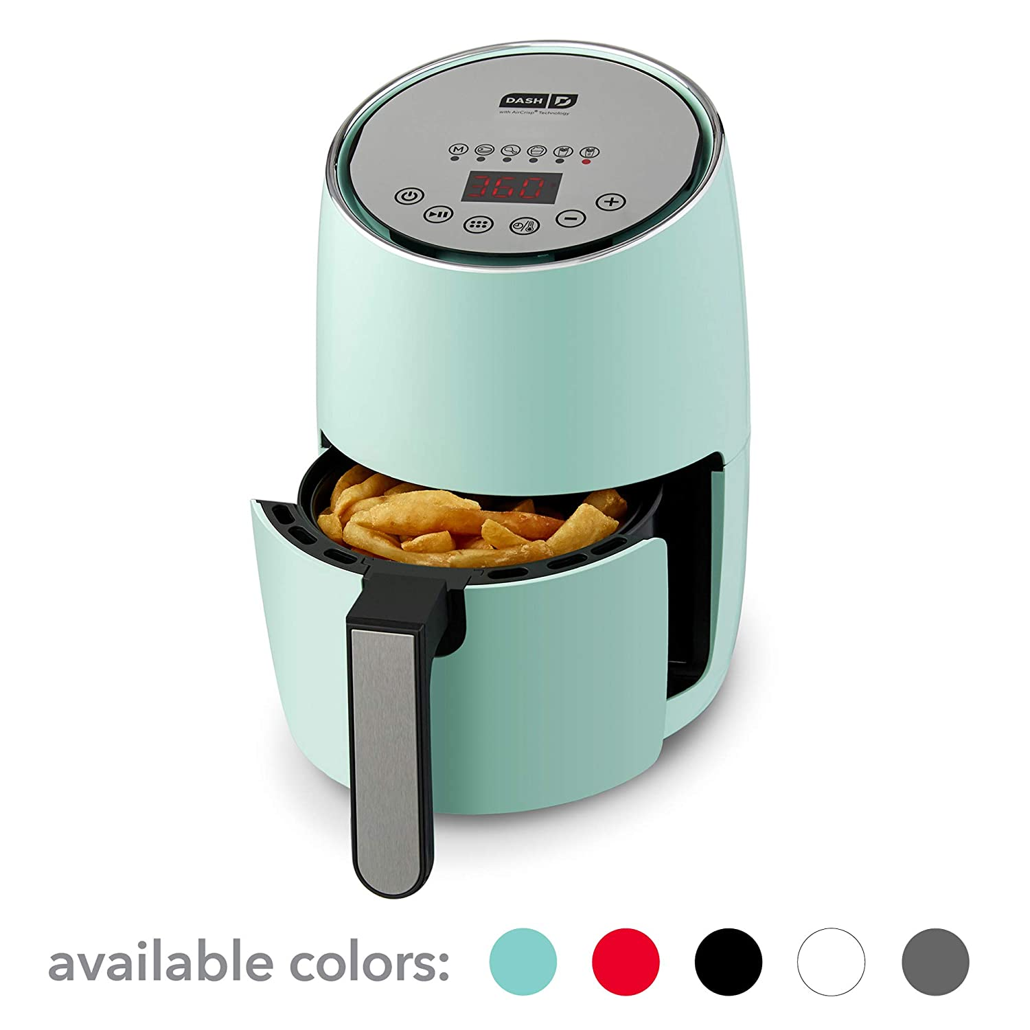 DASH Compact Electric Air Fryer + Oven Cooker with Digital Display, Temperature Control, Non Stick Fry Basket, Recipe Guide + Auto Shut Off Feature, 1.6 L, up to 2 QT, Aqua
