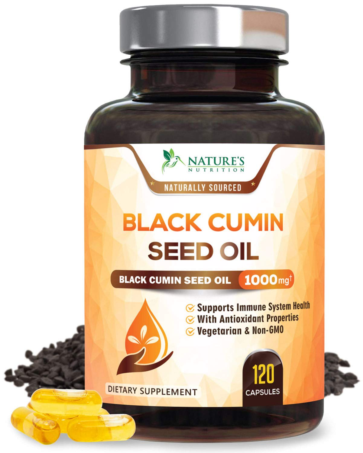 Black Seed Oil Capsules, Max Potency Cold-Pressed 1000mg - Premium Nigella Sativa Black Cumin, Amazing Antioxidant Highest Thymoquinone, Non-GMO Supplement Pills by Natures Nutrition - 120 Capsules
