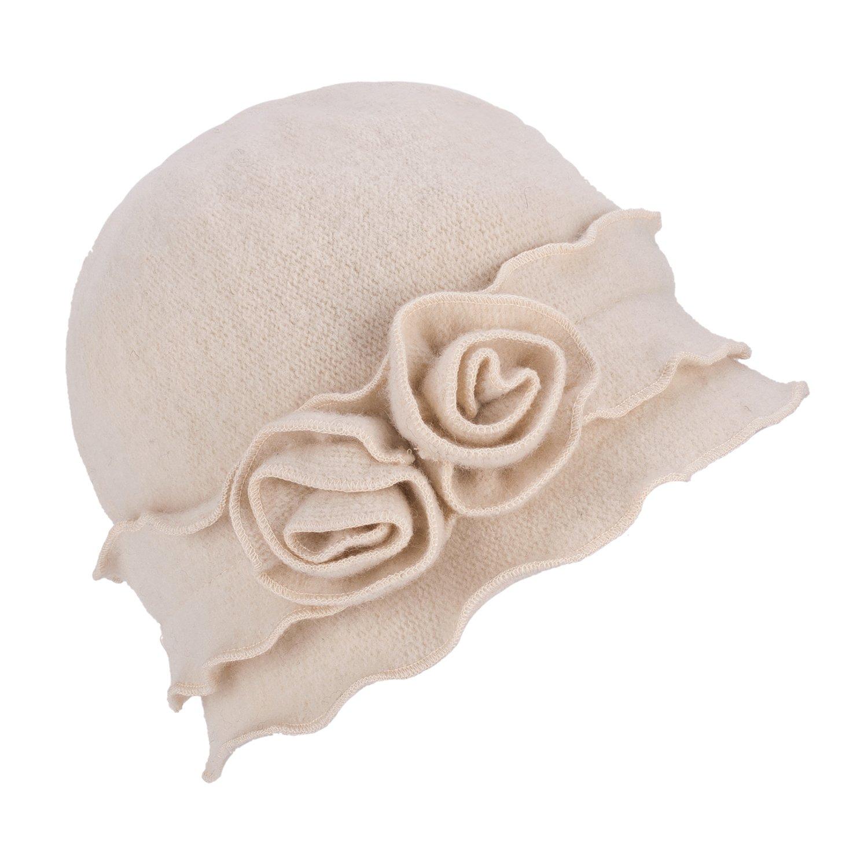 Womens Gatsby 1920s Winter Wool Cap Beret Beanie Crochet Bucket Flower Hat A285 (White)