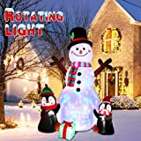 OurWarm 6ft Christmas Inflatables Outdoor Decorations, Blow Up Snowman Penguins Inflatable with Rotating LED Lights for…