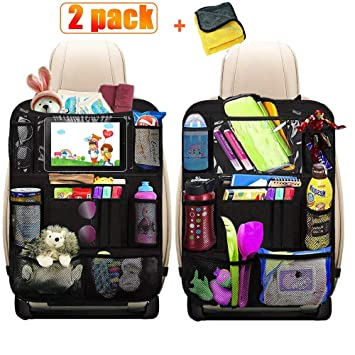 2 Pack Car Travel Accessories Car Organizer Back Seat for Kids /& Toddlers Kick Mats Back Seat Protector with 10 Touch Screen Tablet Holder 12 Storage Pockets Heyham Backseat Car Organizer
