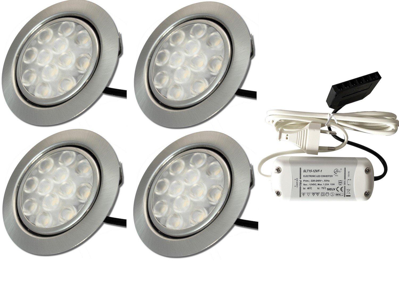 4 Stück 12 Volt LED Möbeleinbauspot Lotta 3 Watt inkl. Kabel mit Mini Stecker inkl. LED Trafo