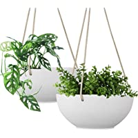 LA JOLIE MUSE White Hanging Planter Basket - 8 Inch Indoor Outdoor Flower Pots, Plant Containers with Drainage Hole, Plant Pot for Hanging Plants, Pack 2