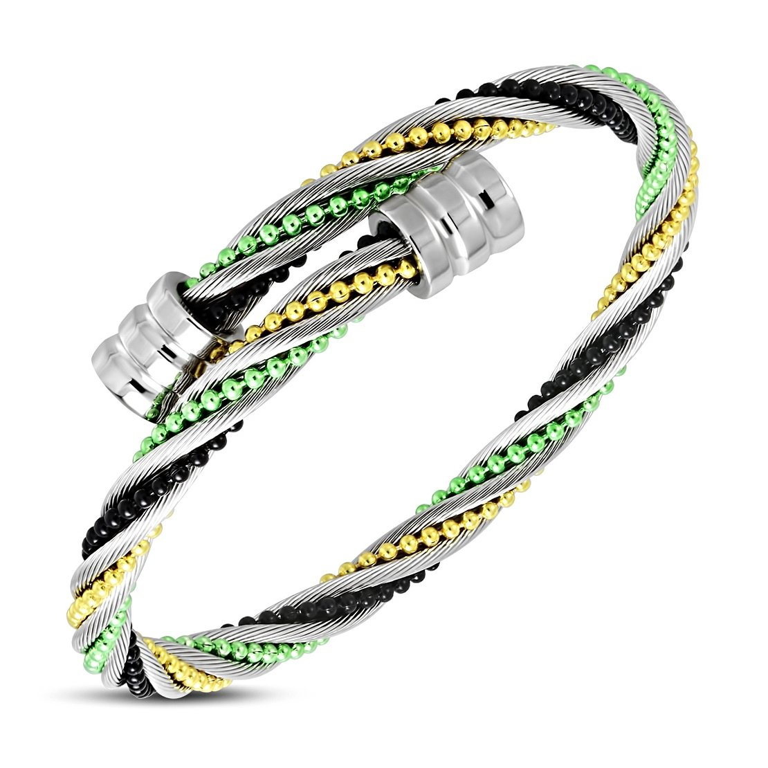 NRG 316L Jewelry Stainless Steel Twisted Tubular Herringbone Colorful Stitch Beading Celtic Cable Wire Bangle