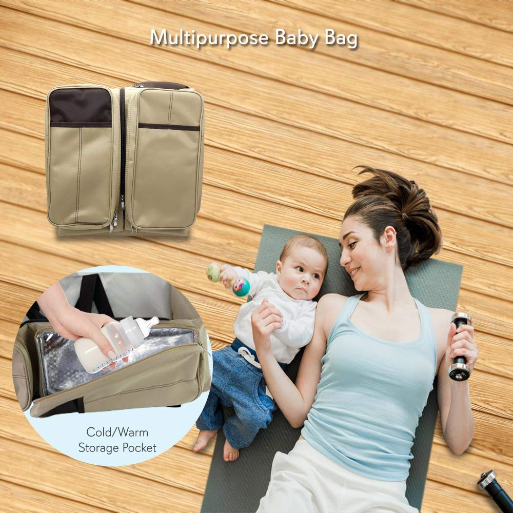 Scuddles 3 In 1 Travel Infant Bed Baby Diaper Bag & Baby Changing Pad Portable Systems | Infant Sleeping Bag | Travel Bed, Easy Carry Design Portable For Girls & Boys Travel Accessory (SC-FDB-01) by Scuddles (Image #4)