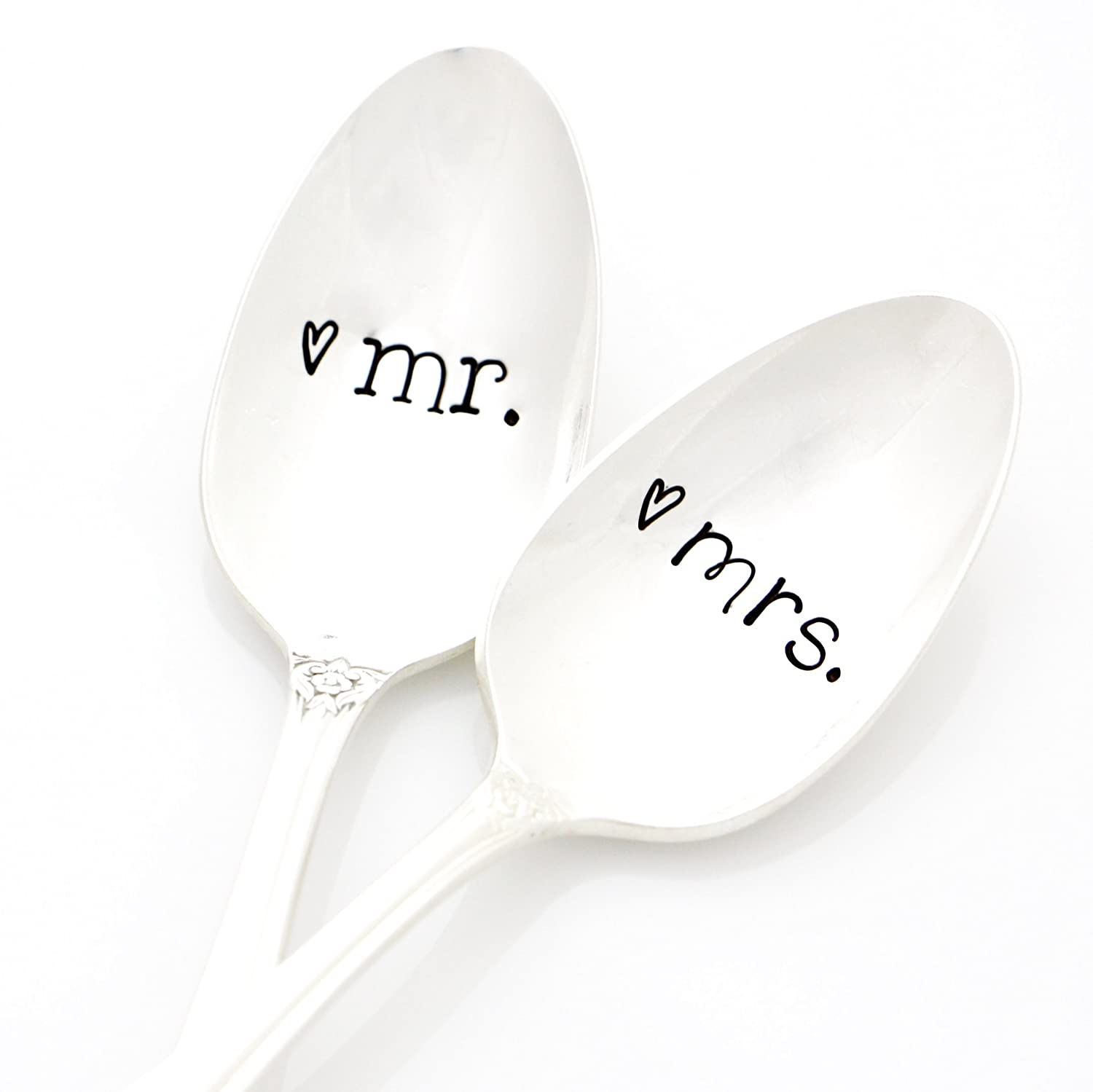 Mr. and Mrs. Wedding Spoons in 'His and Her' Fonts. Hand Stamped Silverware for Couples Gift Idea. Part of the Martha Stewart American Made Market.