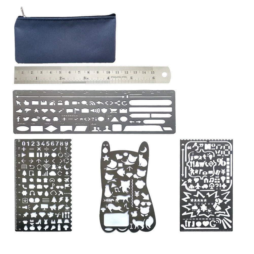 TianJi 5 Pack Stainless Steel Bullet Journal Stencil Set Painting Stencils with Storage Package for Daily Planning 4336946711