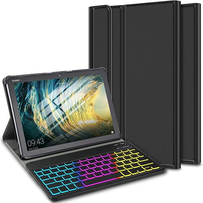 ELTD Funda con Teclado Español Ñ para Huawei MediaPad M5 Lite 10, Teclado inalámbrico 7 Colores Cubierta de Teclado retroiluminada de Tres ...