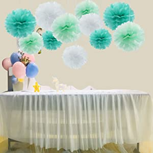 11pcs Mixed 8'' 10'' Mint White Tiffany Blue Pom Pom Paper Flowers Decorations for Wall,Weddings, Birthday, Bridal, Baby Showers Nursery Wall Decor