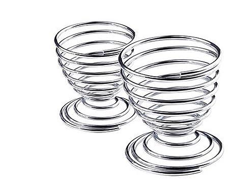 Sunlera Metal Egg Cup Spiral Kitchen Breakfast Hard Boiled Spring Holder Egg Cup