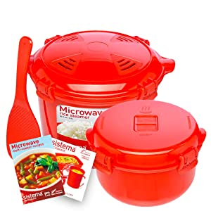 Sistema Microwave Cookware Rice Steamer Set with Lids -- Large Microwave Multicooker, Side Dish Bowl, Spoon and Recipes (BPA Free, 100% Food Safe) (Red Set)