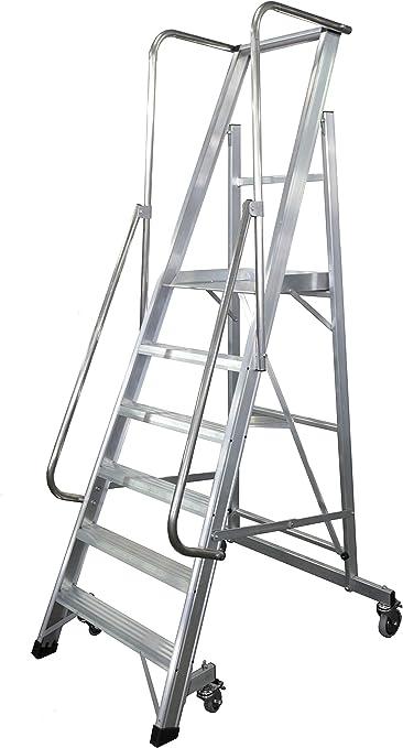 KTL Escalera Plegable con Plataforma y guardacuerpos 6 peldaños móvil Profesional Serie 2XL-s: Amazon.es: Hogar
