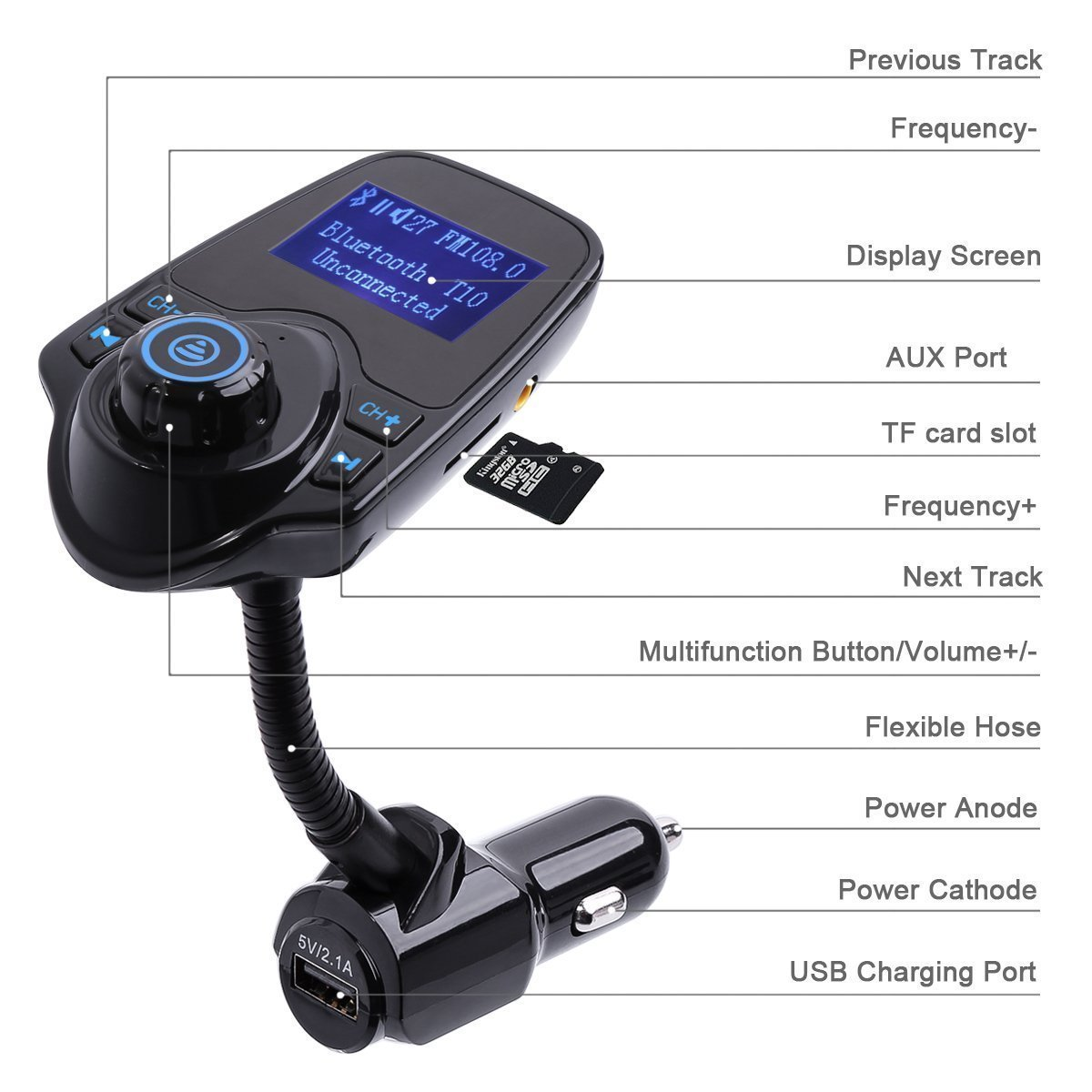 Wireless In-Car Bluetooth FM Transmitter Radio Adapter Car Kit W 1.44 Inch Display Supports TF//SD Card and USB Car Charger for All Smartphones Audio Players