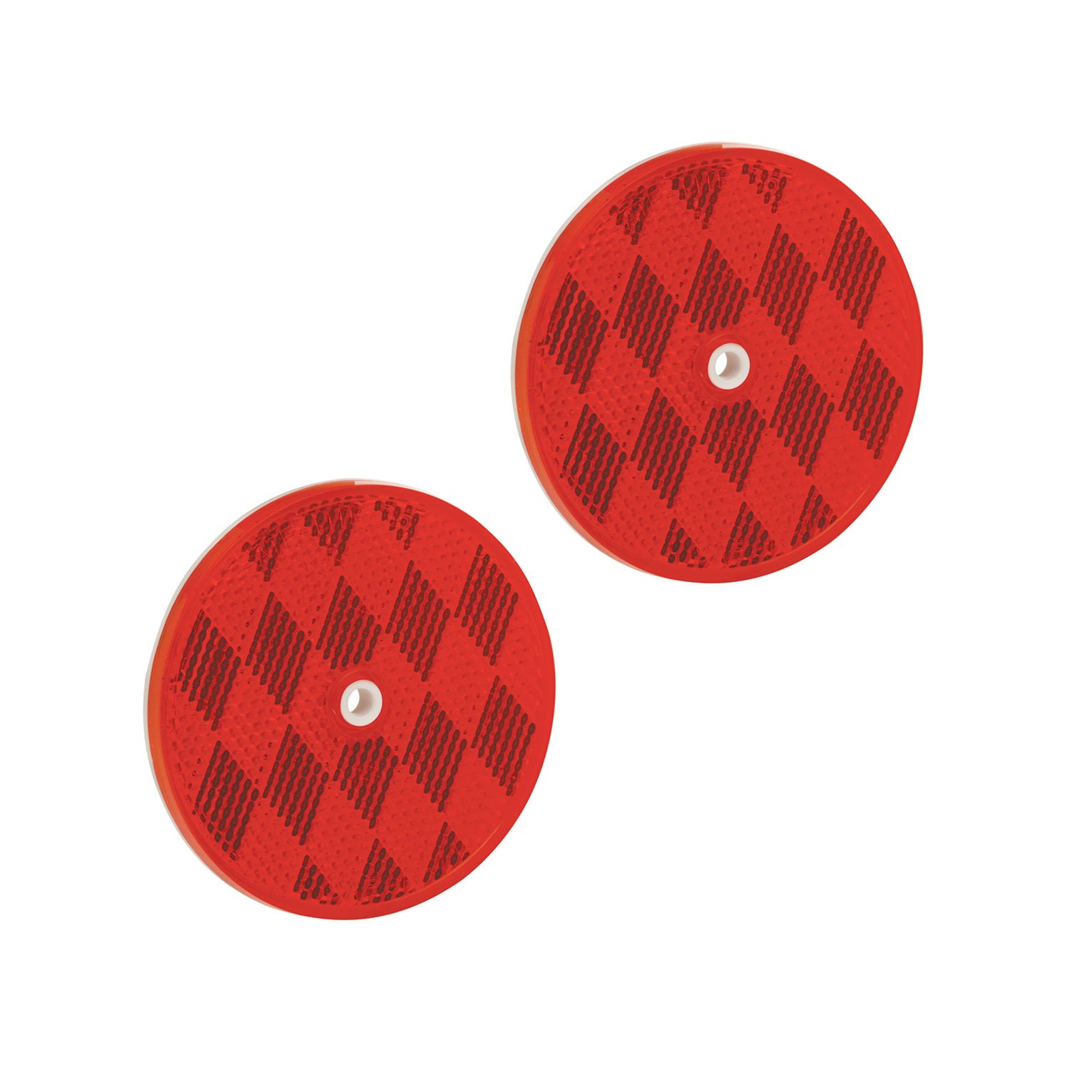 Bargman 74-68-010 Class A 3-3/16'' Round Red Reflector with Center Mounting Hole - 2 Pack