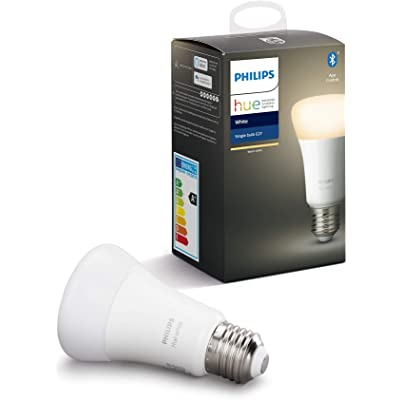 Philips Hue Bombilla Inteligente LED E27, con Bluetooth, Luz Blanca Cálida, Compatible con Alexa y Google Home