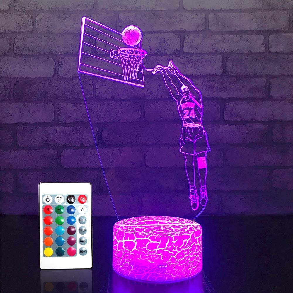 JMLLYCO Basketball lamp , Basketball Gifts 16 Colors Change with Remote Control 3D Optical Illusion Basketball Decor Light As a Gift Ideas for Baby Boys Birthday Gifts