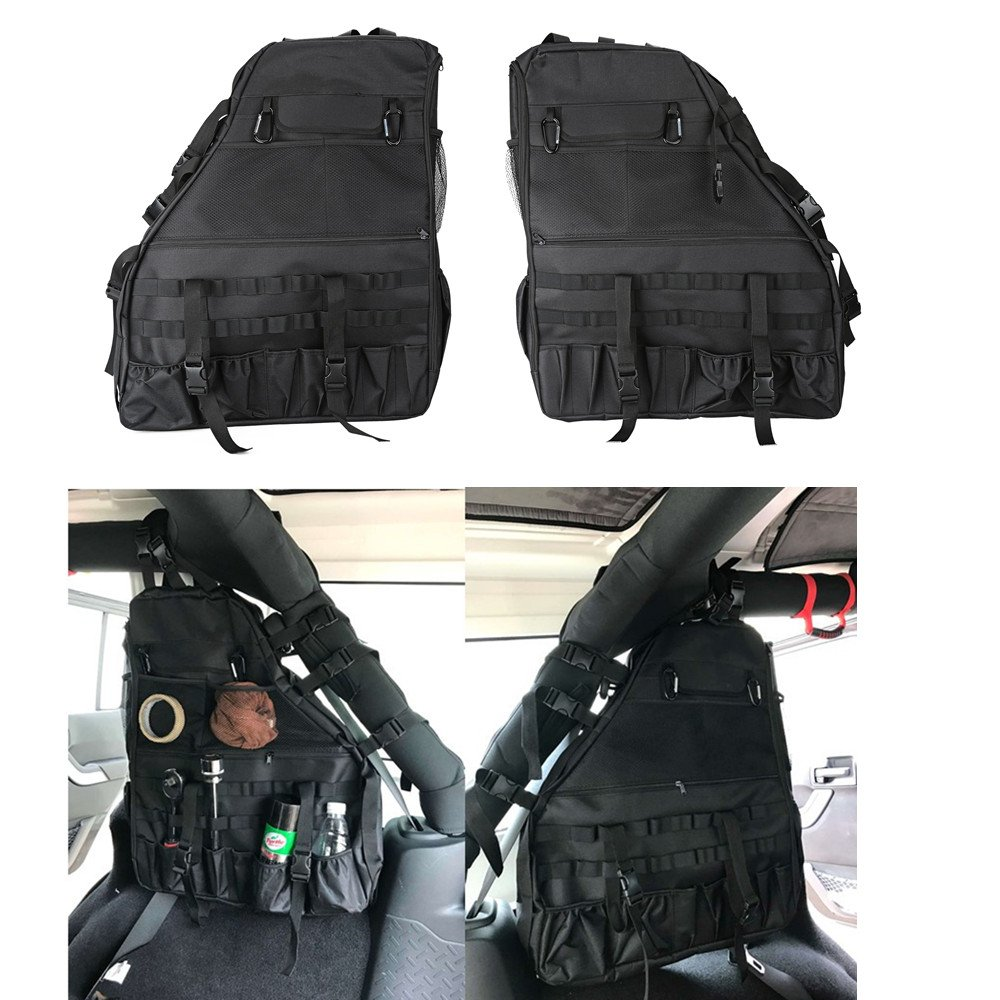 Jenaka 2Pcs Roll Bar Storage Bag Cargo for 07~17 Jeep Wrangler JK 4-door with Multi-Pockets & Organizers & Cargo Bag Saddlebag Tool Kits Bottle Drink Phone Tissue Gadget Holder