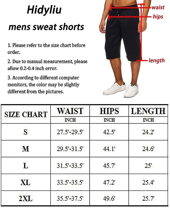 Hidyliu Mens Elastic Waist Drawstring Workout Joggers Shorts Summer Casual Sweat Short Pants with Pockets