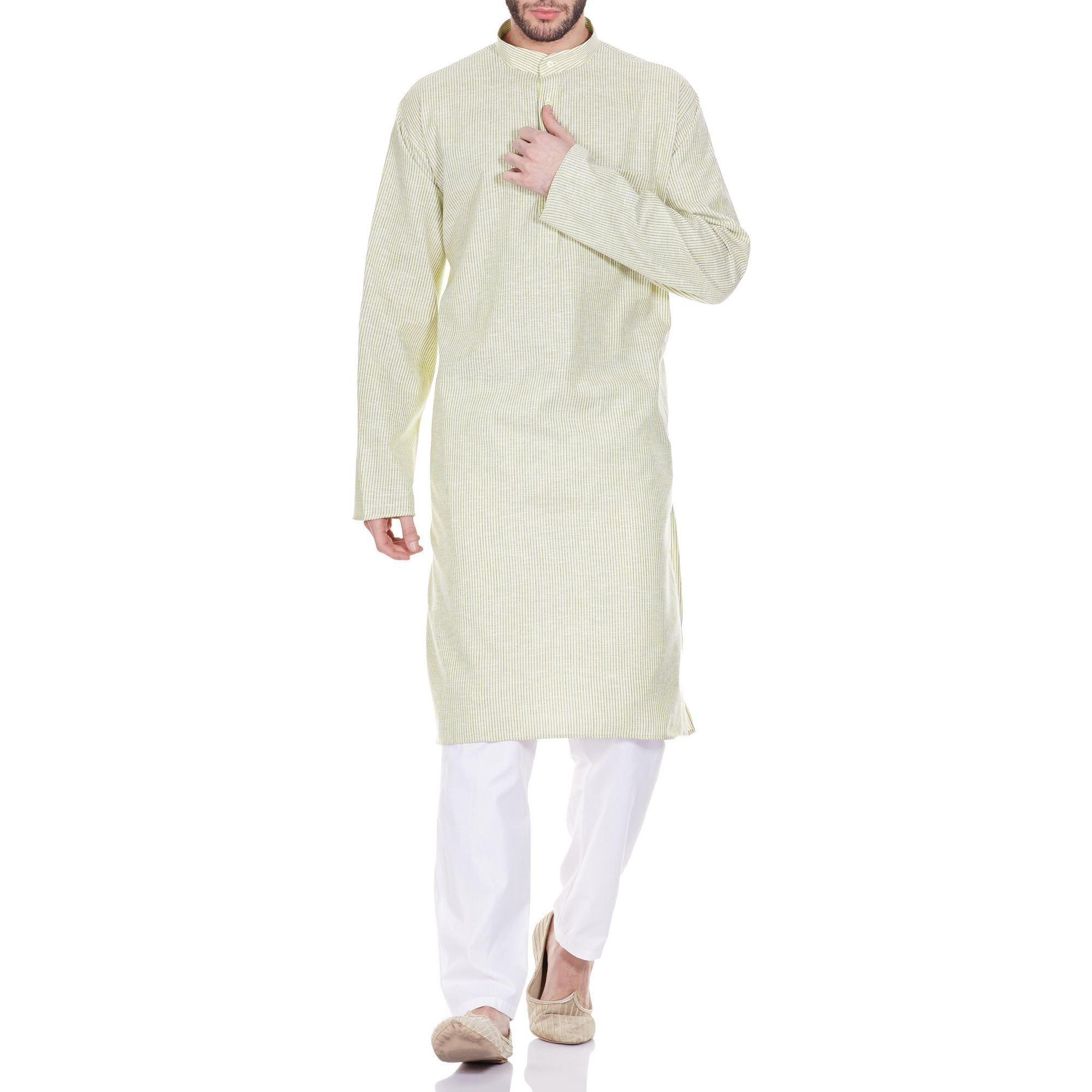 Men Costume Indian Kurta Pajama Set Comfort Fit Anniversary Gifts 44 Inches
