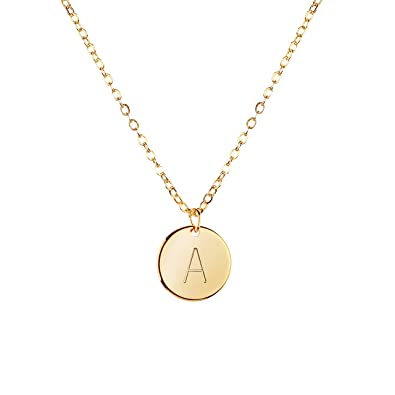 Amazon mignonandmignon gold initial necklace initial disc amazon mignonandmignon gold initial necklace initial disc necklace mothers day gift bridesmaid jewelry gift for her a jewelry aloadofball Image collections